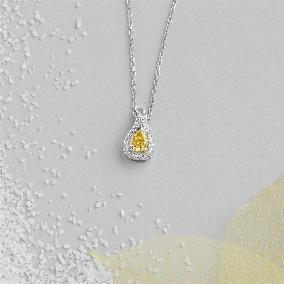 18ct White Gold Yellow and White Diamond Halo Necklace 0.46ct Thumbnail Image 1