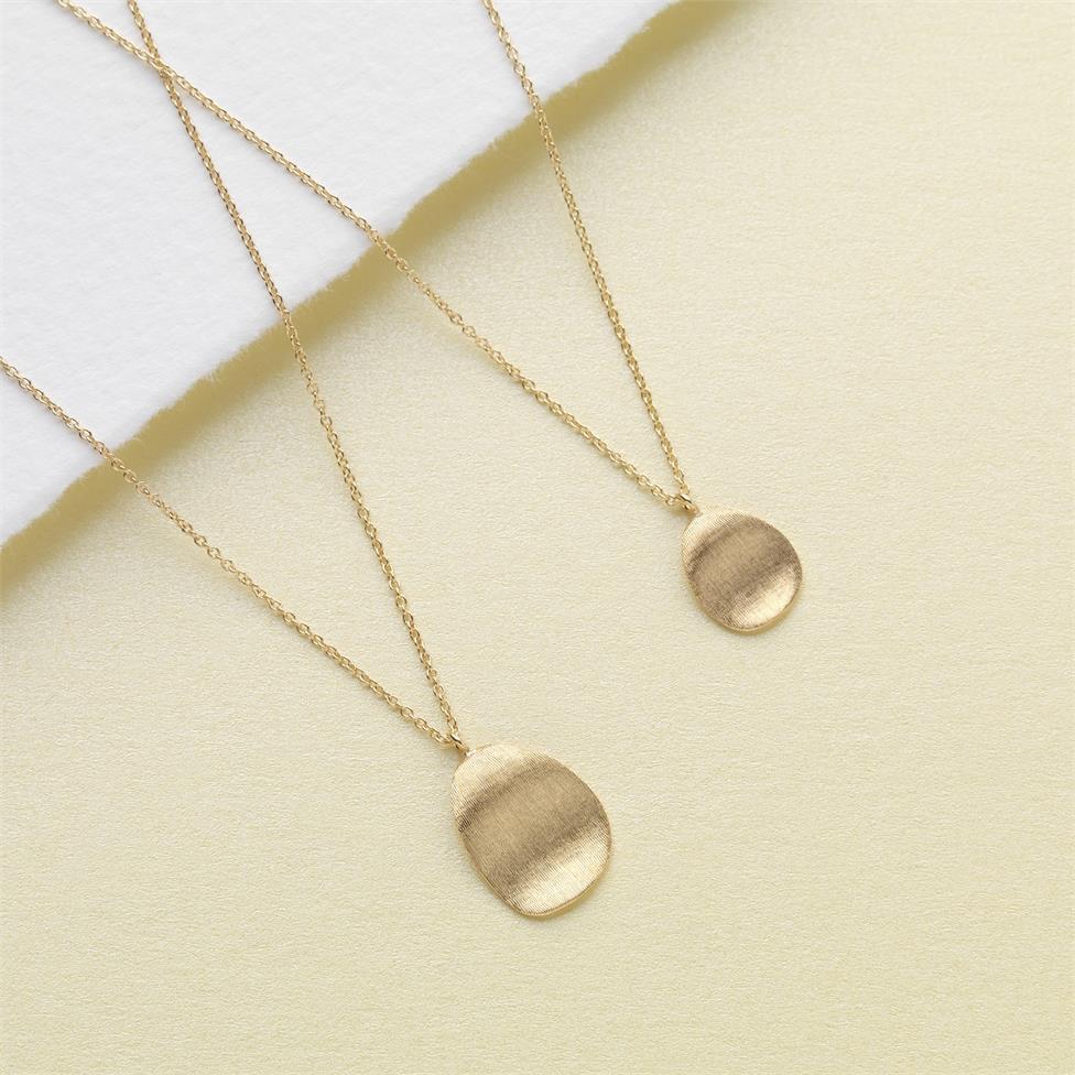 Cadence 18ct Yellow Gold Satin Finish Necklace - Large Thumbnail Image 2