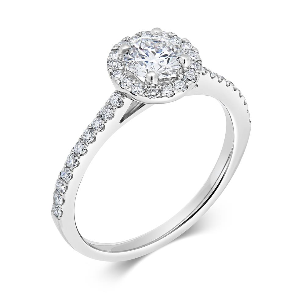 Platinum Diamond Halo Engagement Ring 0.63ct Thumbnail Image 0