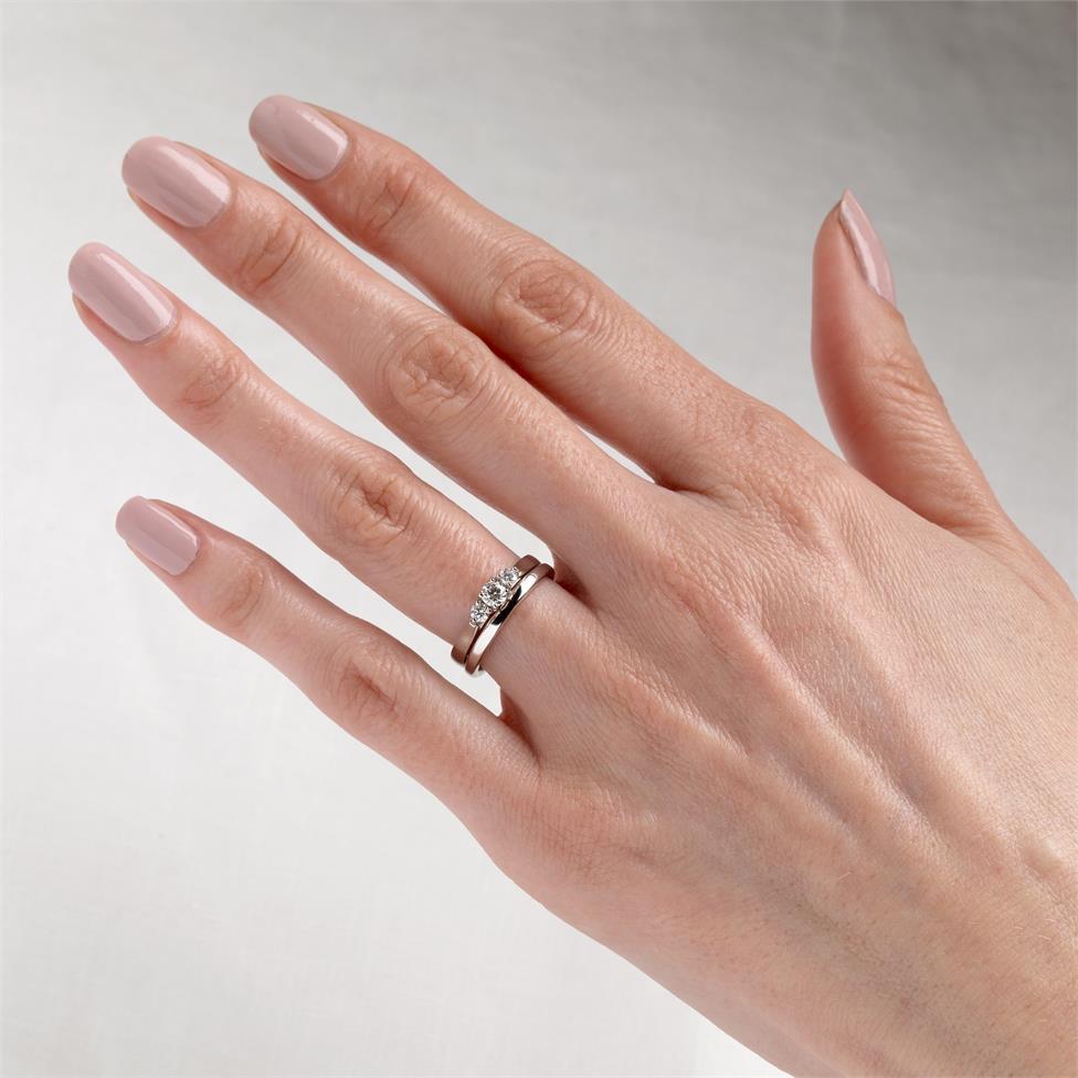 Platinum Diamond Three Stone Engagement Ring 0.33ct Thumbnail Image 1