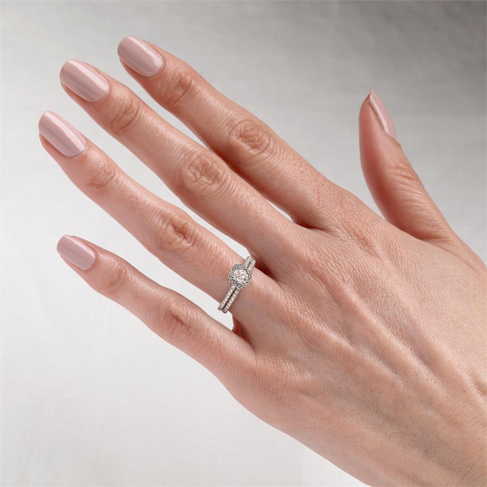 Platinum Cushion Cut Diamond Halo Engagement Ring 0.85ct Thumbnail Image 1