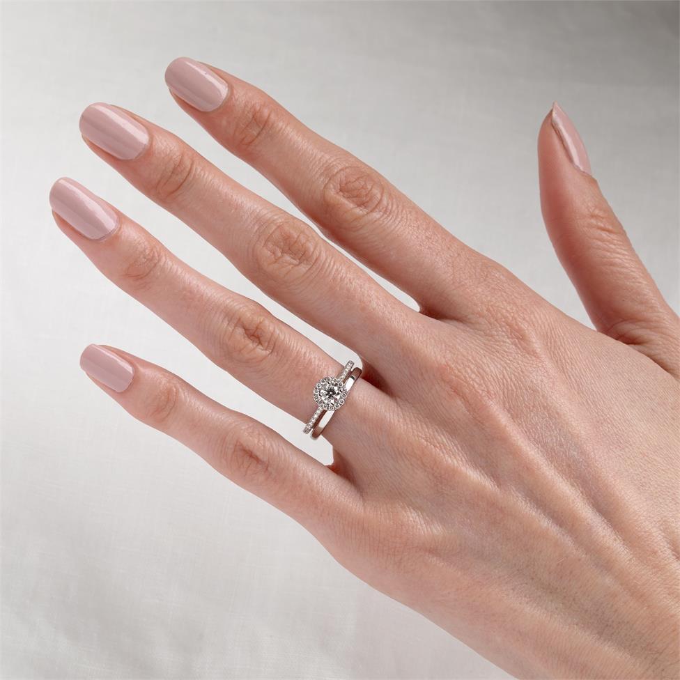 Platinum Diamond Halo Engagement Ring 0.63ct Thumbnail Image 1