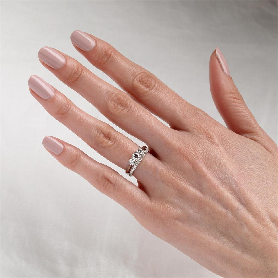Platinum Diamond Three Stone Engagement Ring 0.80ct Thumbnail Image 1