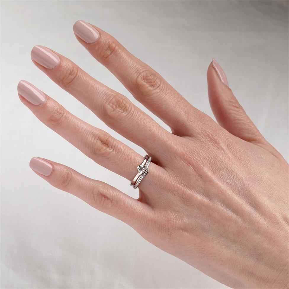 Platinum Twist Design Diamond Solitaire Engagement Ring 0.25ct Thumbnail Image 1