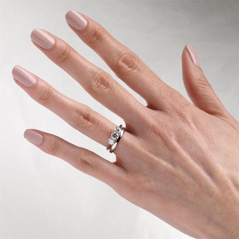 Platinum Diamond Three Stone Engagement Ring 1.00ct Thumbnail Image 1