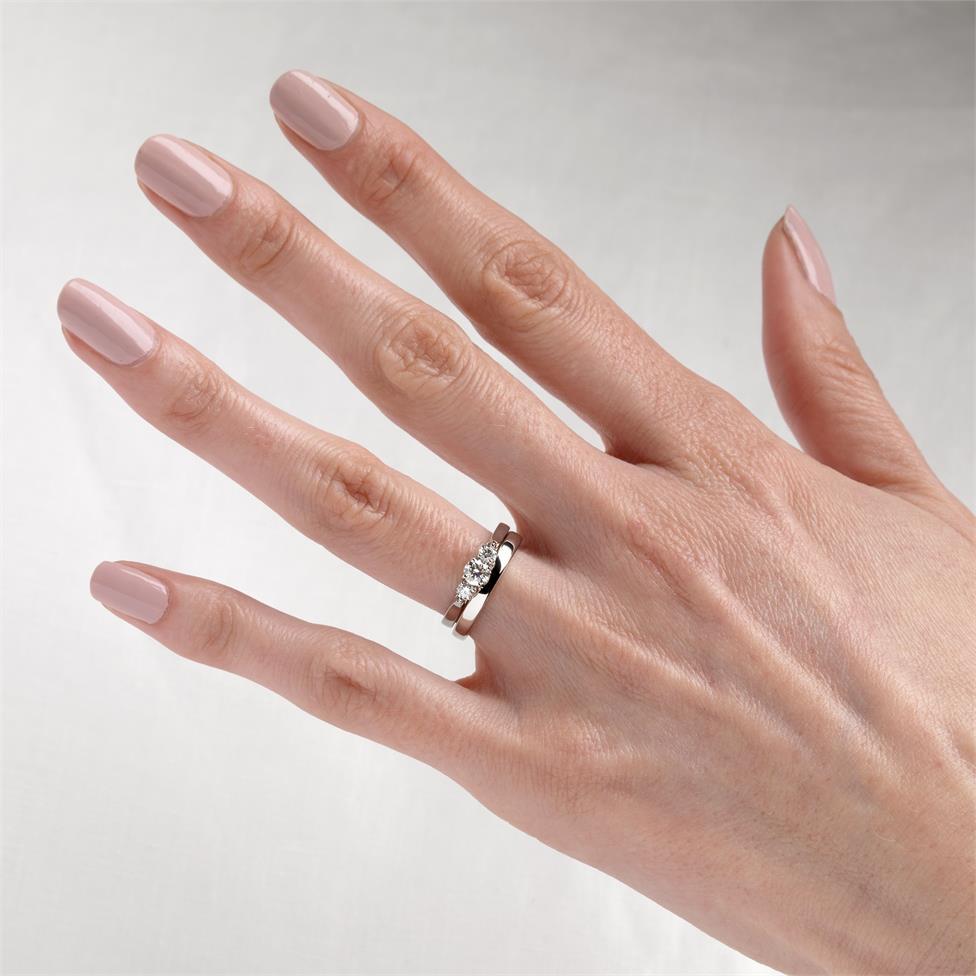 Platinum Diamond Three Stone Engagement Ring 0.50ct Thumbnail Image 2