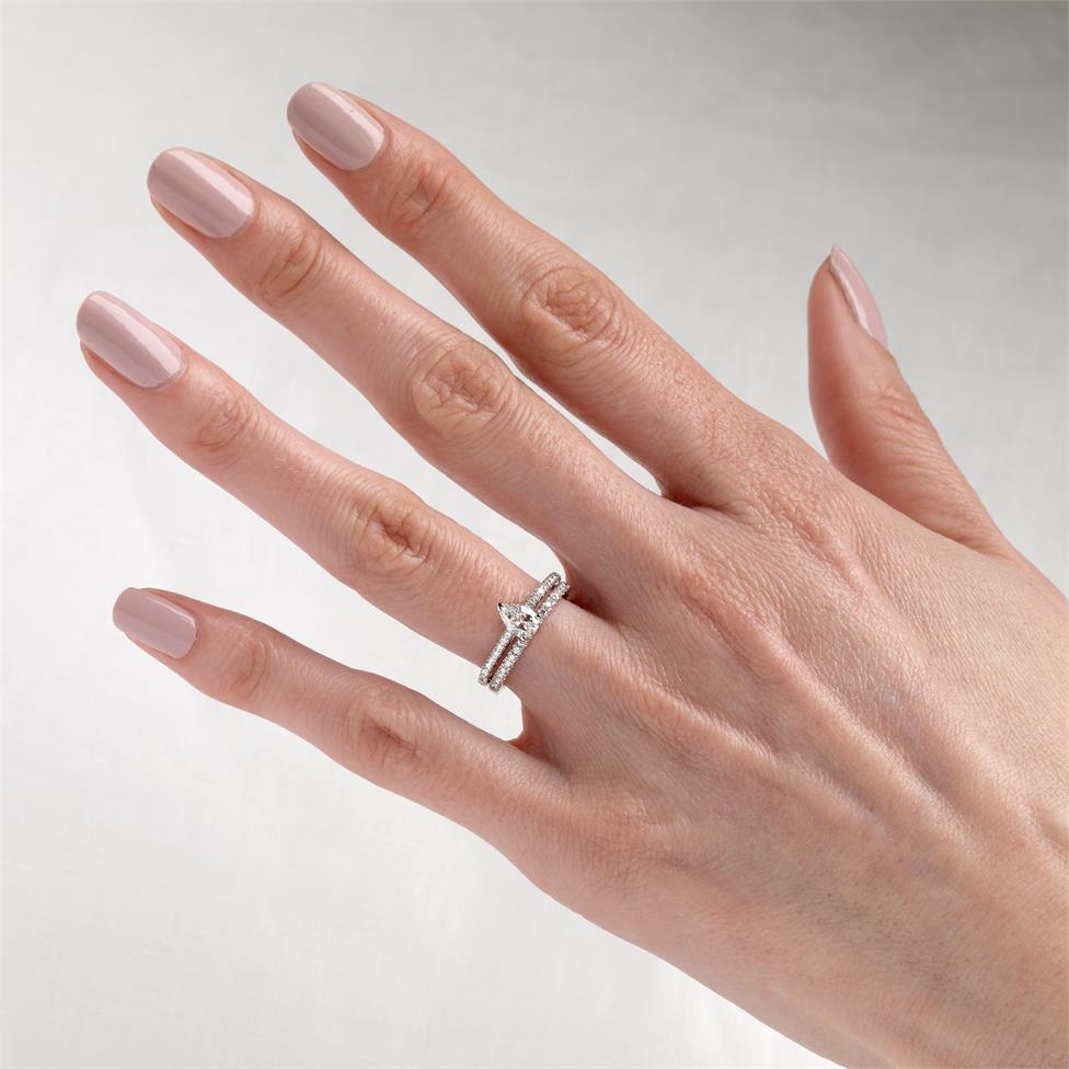 Platinum Pear Shape Diamond Solitaire Engagement Ring 0.75ct Thumbnail Image 1