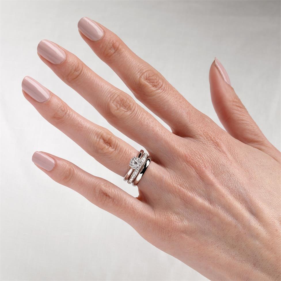 18ct White Gold Illusion Detail Diamond Cluster Engagement Ring 0.35ct Thumbnail Image 1