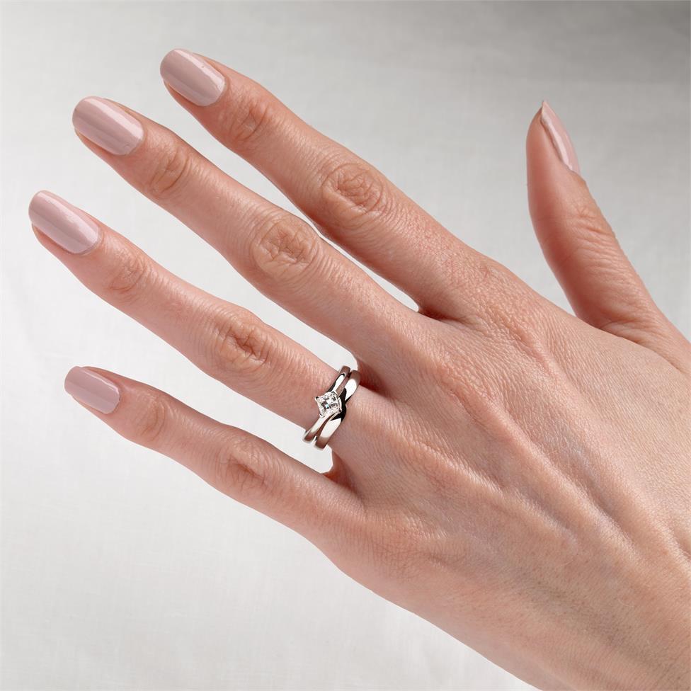 Platinum Twist Design Princess Cut Diamond Solitaire Engagement Ring 0.50ct Thumbnail Image 1