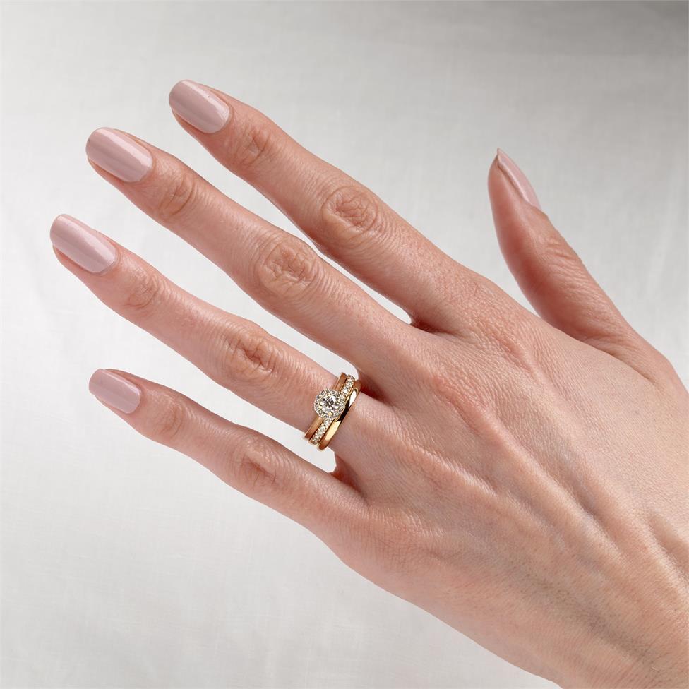 18ct Yellow Gold Diamond Round Halo Engagement Ring 0.48ct Thumbnail Image 1