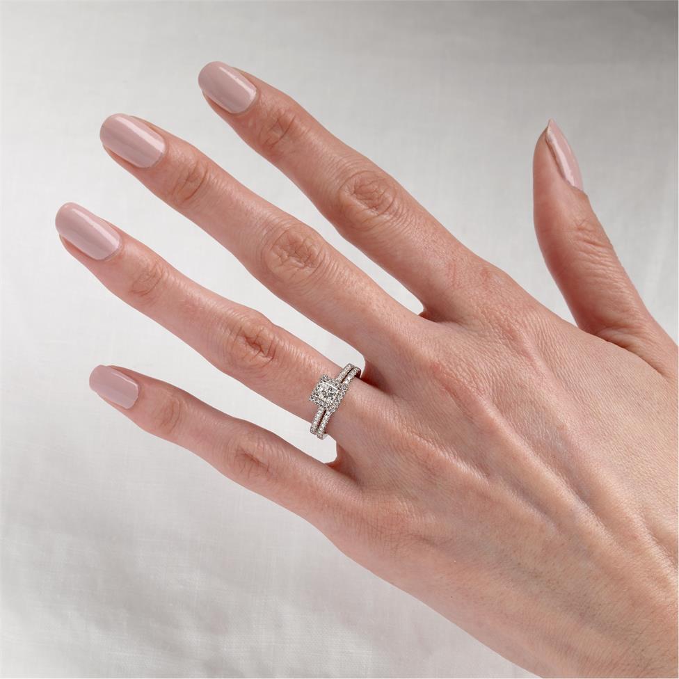 Platinum Princess Cut Diamond Halo Engagement Ring 0.75ct Thumbnail Image 1