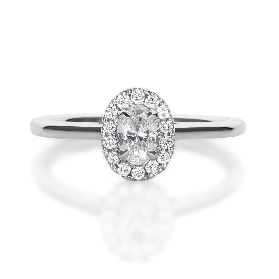 Platinum Oval Diamond Halo Engagement Ring 0.45ct Thumbnail Image 2