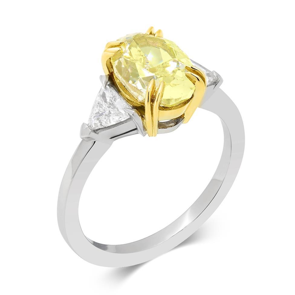 Platinum and 18ct Gold Oval Yellow Diamond Three Stone Engagement Ring 2.94ct Thumbnail Image 0