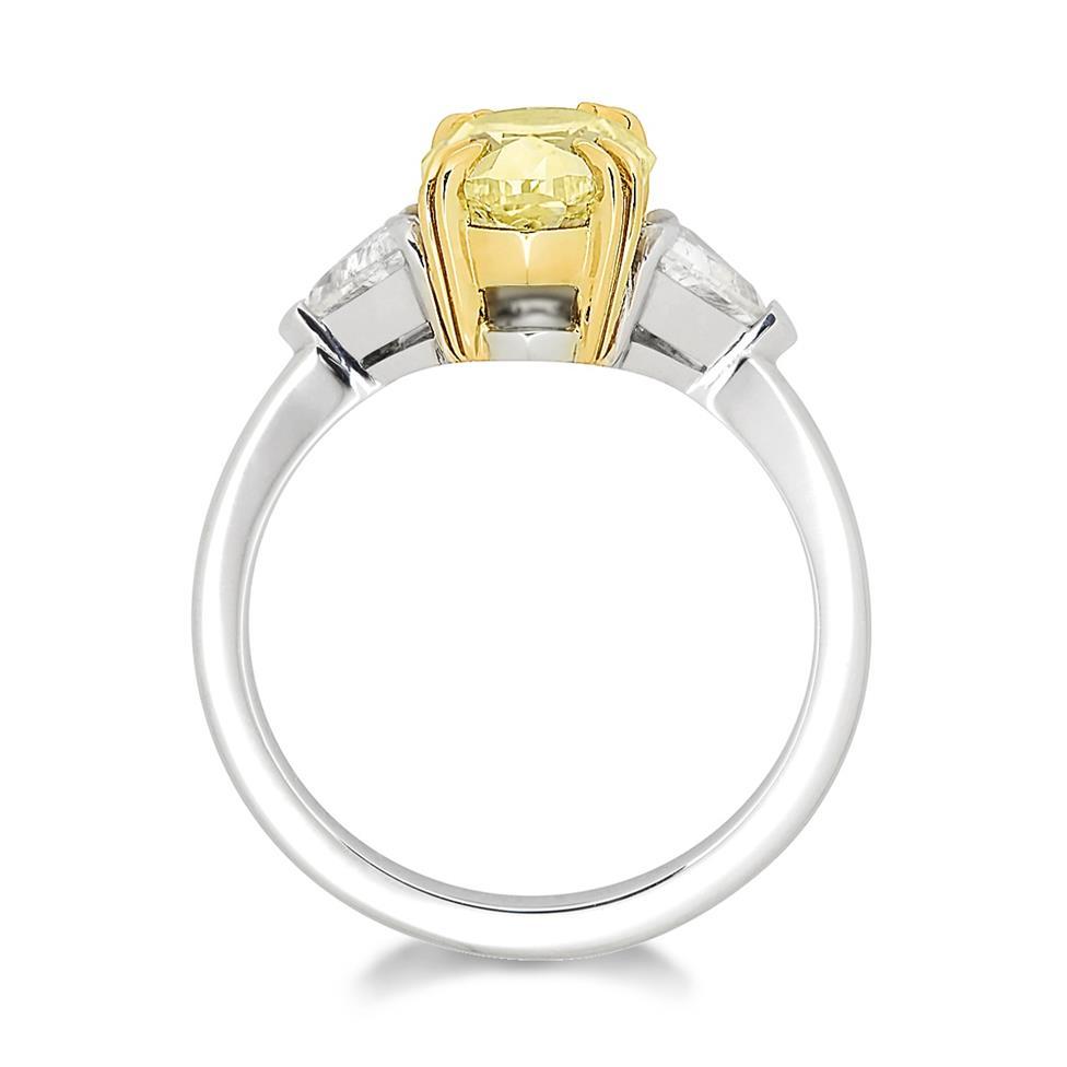 Platinum and 18ct Gold Oval Yellow Diamond Three Stone Engagement Ring 2.94ct Thumbnail Image 1