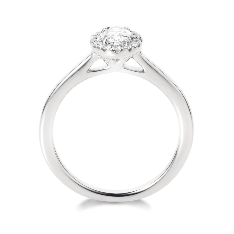 Platinum Oval Diamond Halo Engagement Ring 0.45ct Thumbnail Image 3