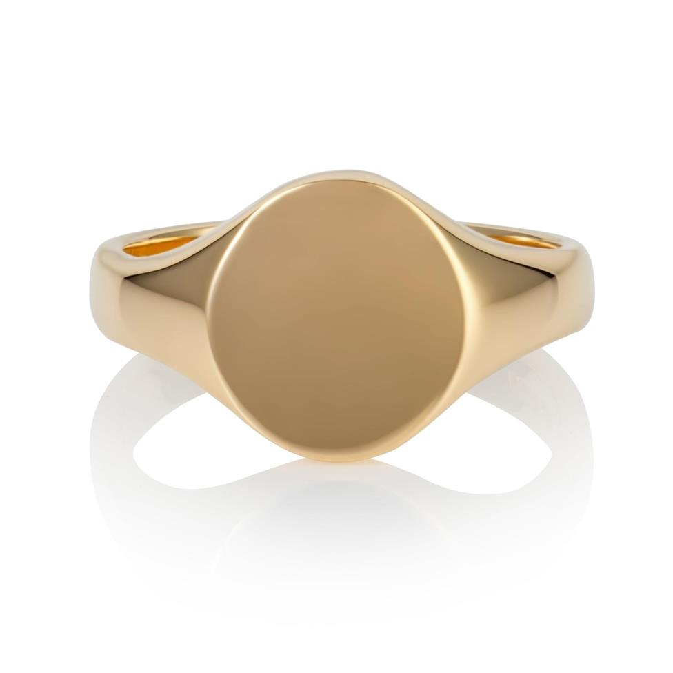 9ct Yellow Gold Small Oval Signet Ring  Thumbnail Image 1
