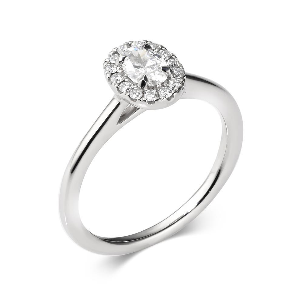 Platinum Oval Diamond Halo Engagement Ring 0.45ct Thumbnail Image 0