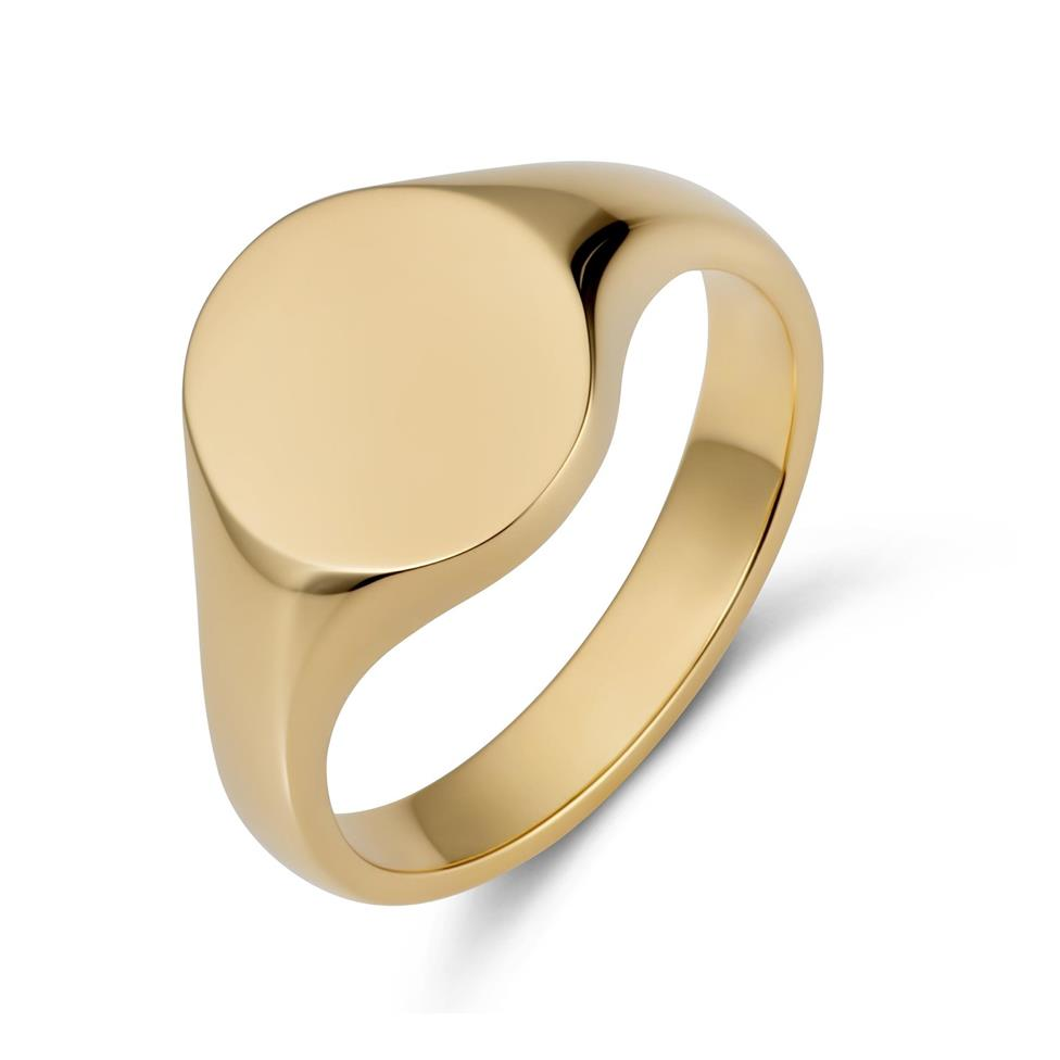 9ct Yellow Gold Small Oval Signet Ring  Thumbnail Image 0