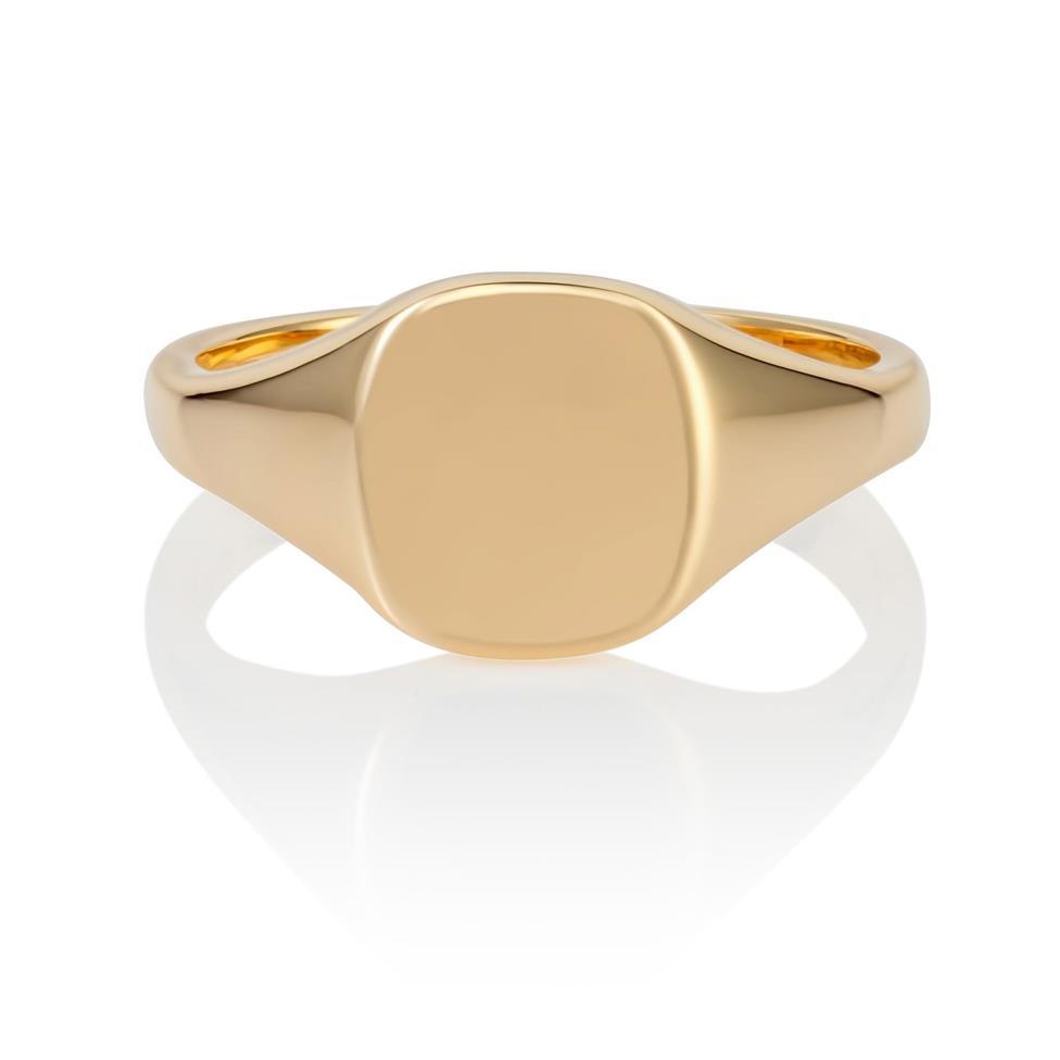 9ct Yellow Gold Cushion Signet Ring Thumbnail Image 1