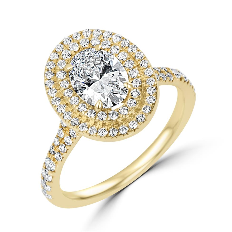 18ct Yellow Gold Oval Diamond Double Halo Engagement Ring 1.50ct Thumbnail Image 0