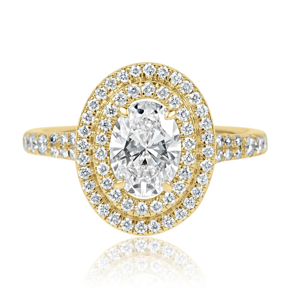 18ct Yellow Gold Oval Diamond Double Halo Engagement Ring 1.50ct Thumbnail Image 1