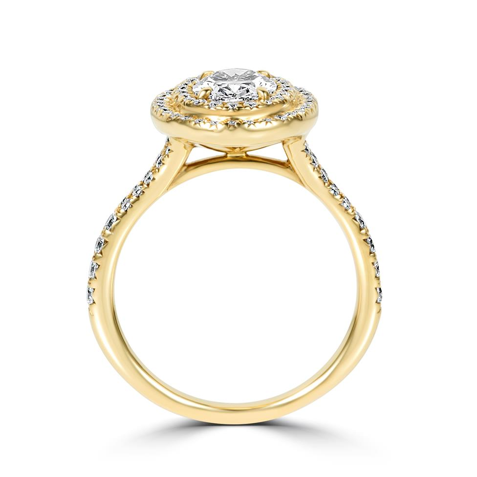 18ct Yellow Gold Oval Diamond Double Halo Engagement Ring 1.50ct Thumbnail Image 2