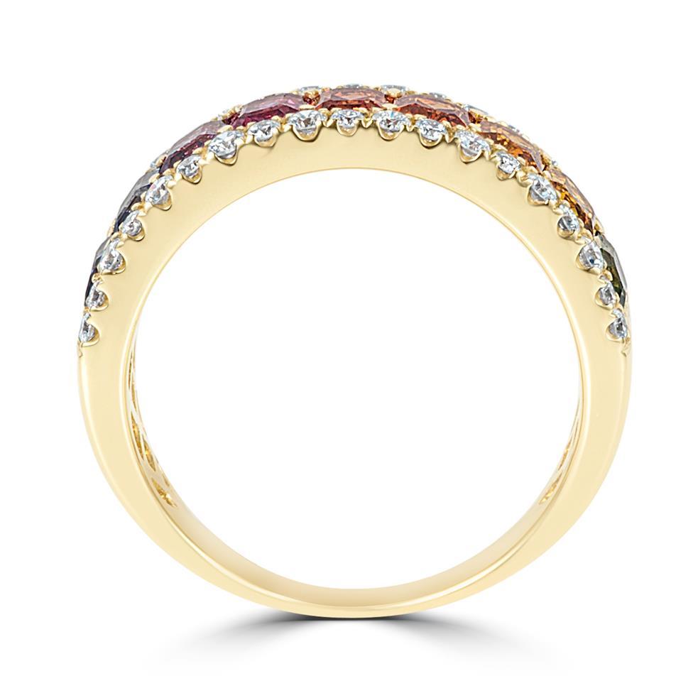 Samba 18ct Yellow Gold Rainbow Sapphire and Diamond Dress Ring Thumbnail Image 5