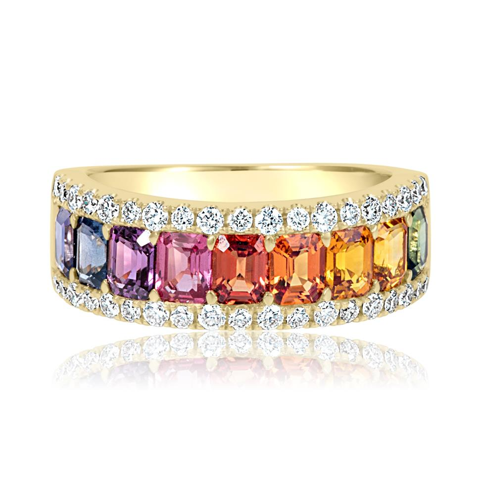 Samba 18ct Yellow Gold Rainbow Sapphire and Diamond Dress Ring Thumbnail Image 4