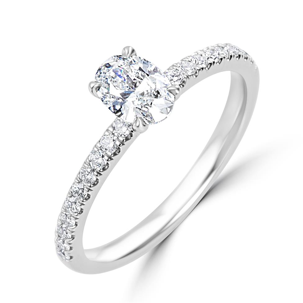 Platinum Oval Diamond Solitaire Engagement Ring 0.70ct Thumbnail Image 0