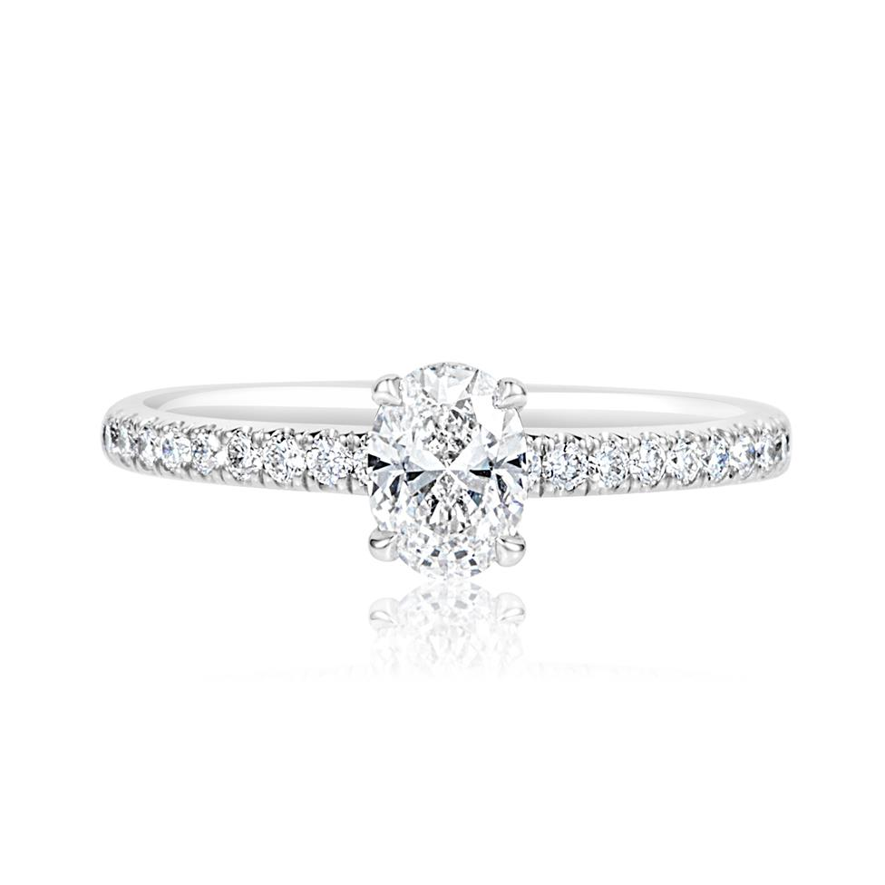 Platinum Oval Diamond Solitaire Engagement Ring 0.70ct Thumbnail Image 1