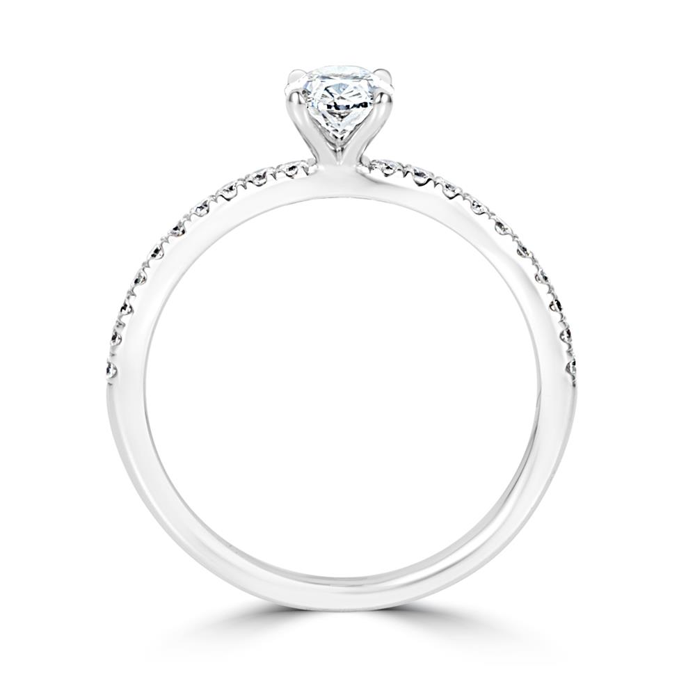 Platinum Oval Diamond Solitaire Engagement Ring 0.70ct Thumbnail Image 2