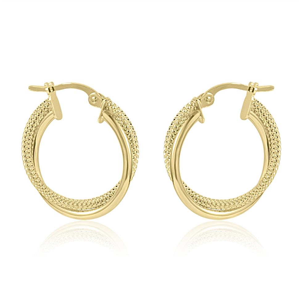 18ct Yellow Gold Crossover Hoop Earrings 18mm Thumbnail Image 0