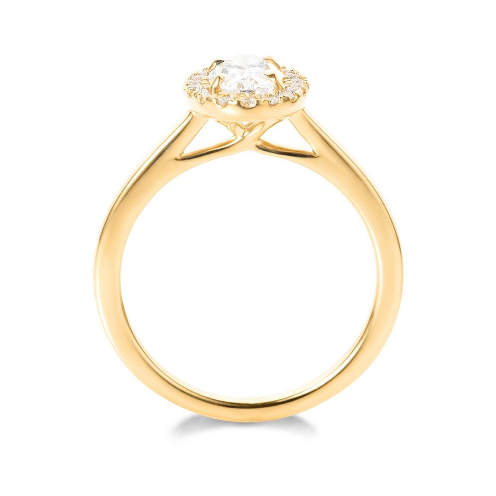 18ct Yellow Gold Oval Diamond Halo Engagement Ring 0.90ct Thumbnail Image 2