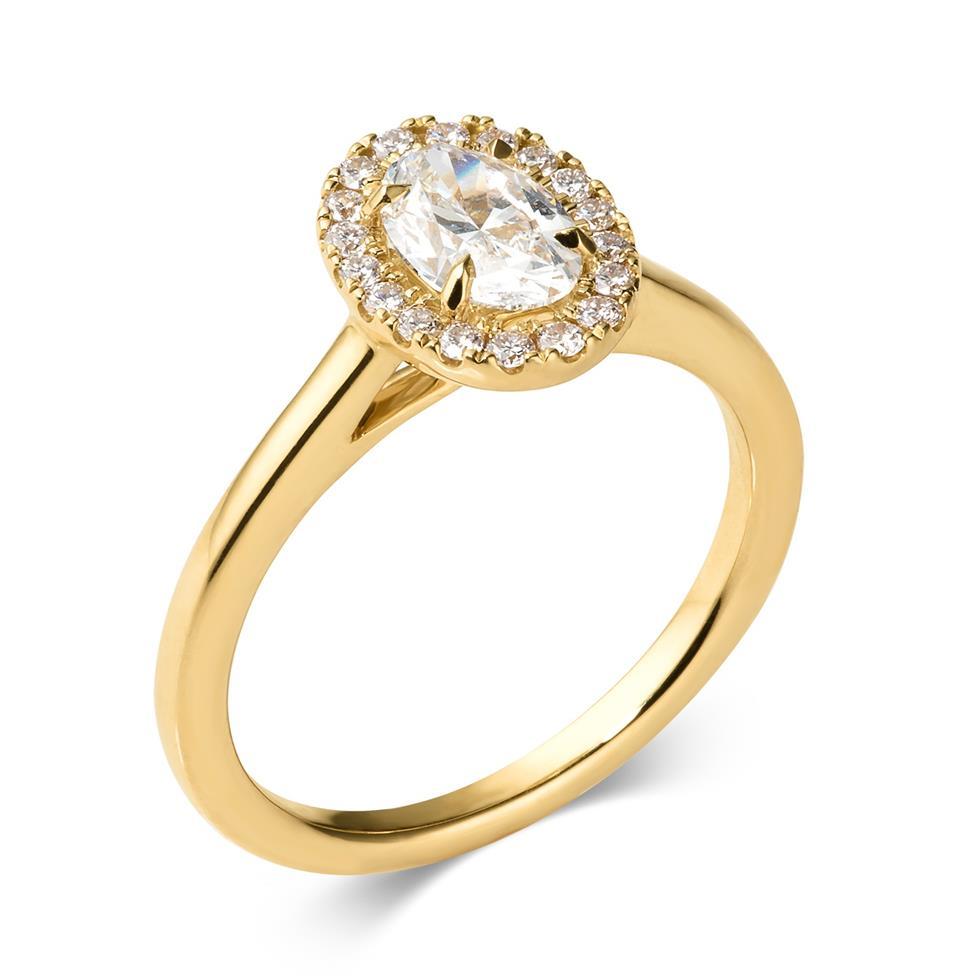 18ct Yellow Gold Oval Diamond Halo Engagement Ring 0.90ct Thumbnail Image 0