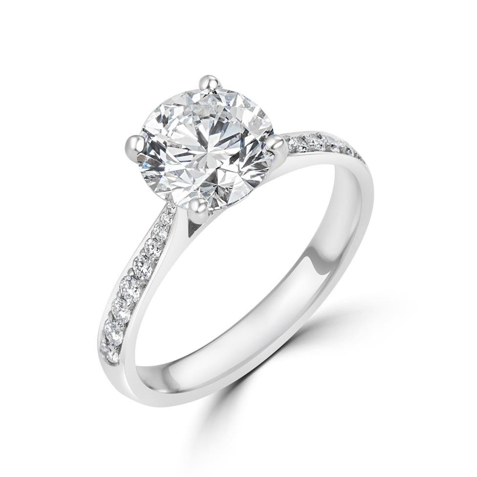 Platinum Diamond Solitaire Engagement Ring 2.24ct Thumbnail Image 0