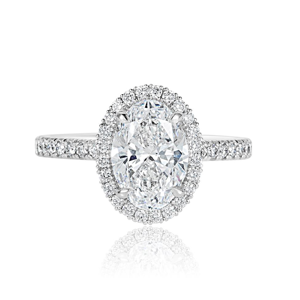 Platinum Oval Diamond Halo Engagement Ring 2.52ct Thumbnail Image 3