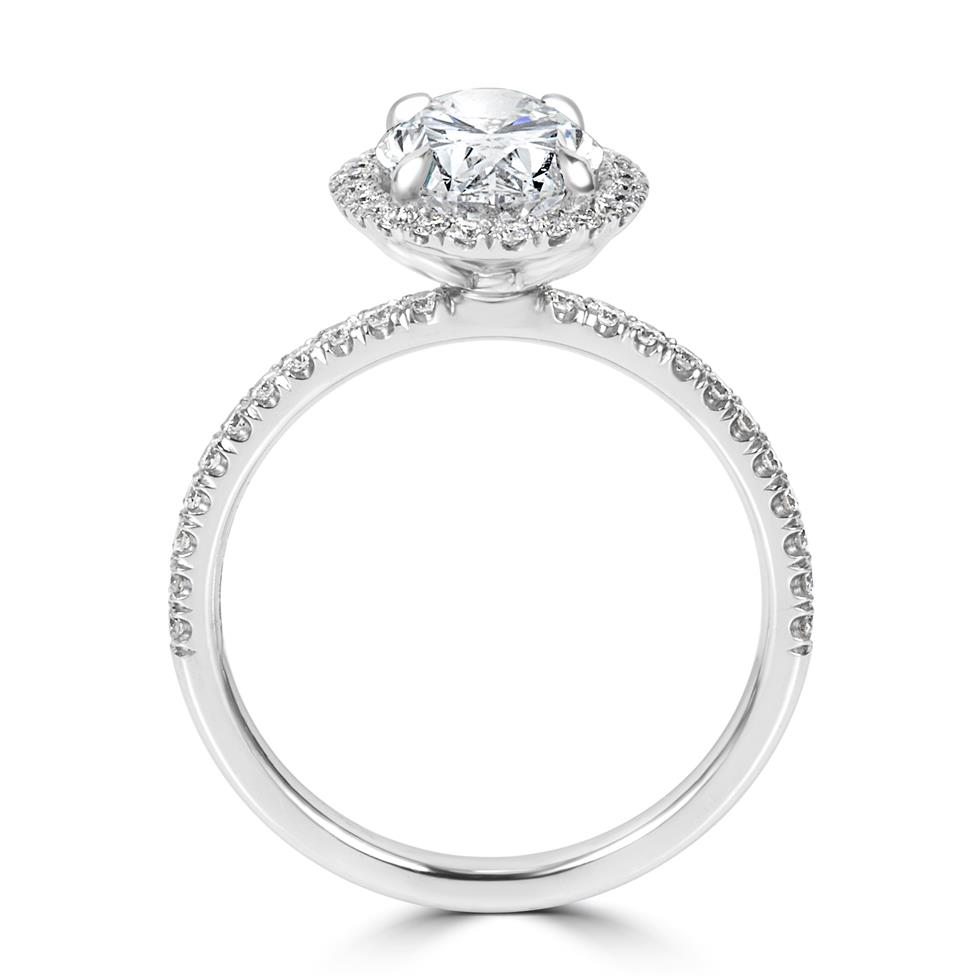 Platinum Oval Diamond Halo Engagement Ring 2.52ct Thumbnail Image 4
