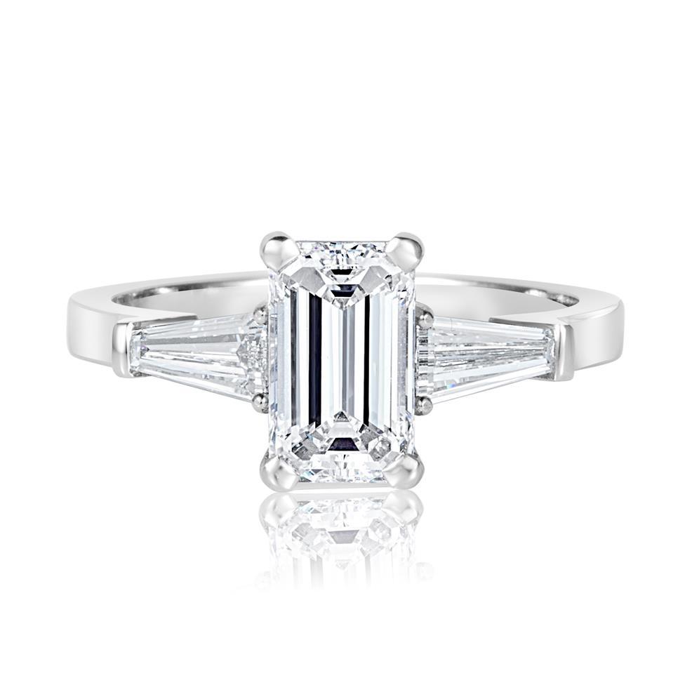Platinum Emerald Cut and Baguette Cut Diamond Three Stone Engagement Ring 1.95ct Thumbnail Image 1