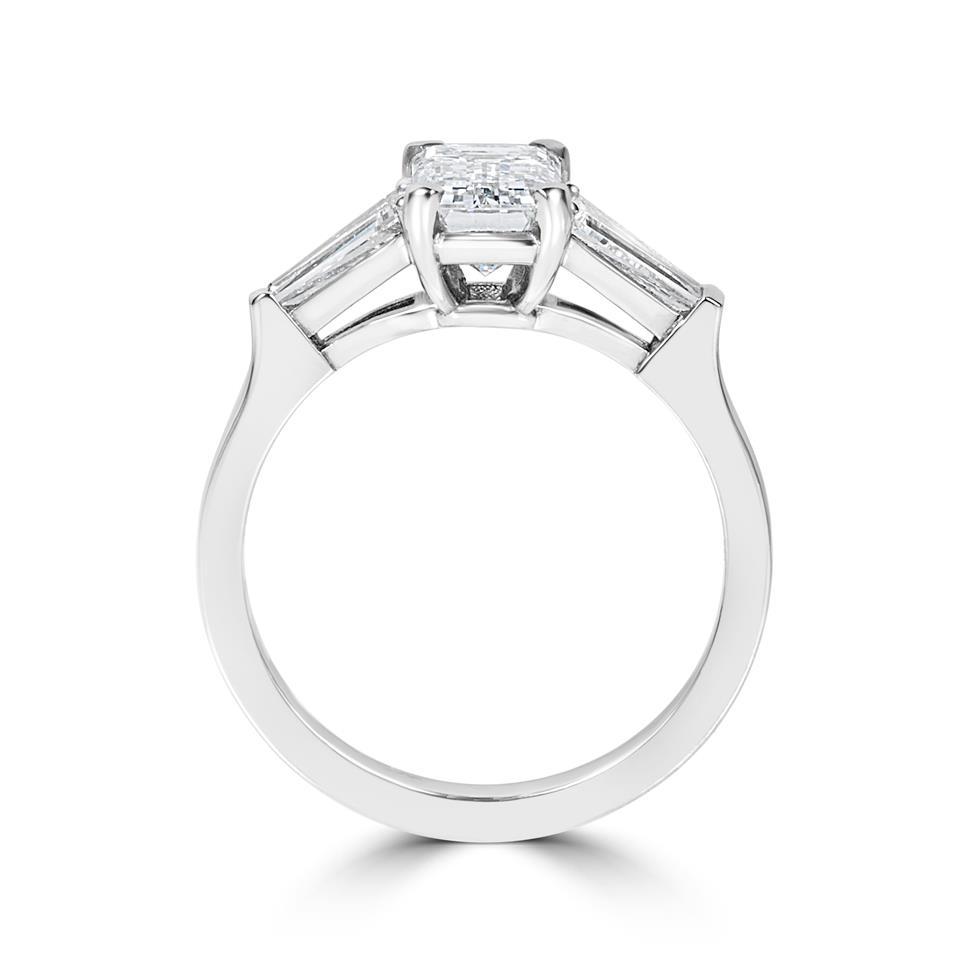 Platinum Emerald Cut and Baguette Cut Diamond Three Stone Engagement Ring 1.95ct Thumbnail Image 2