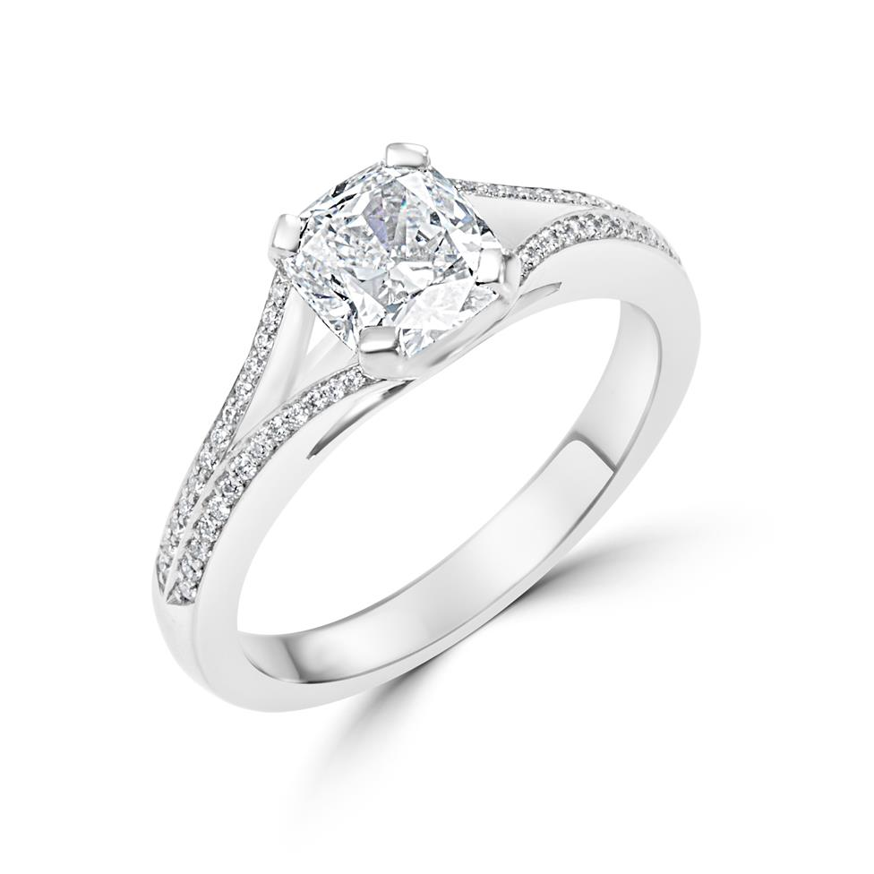 Platinum Split Shoulder Detail Cushion Cut Diamond Solitaire Engagement Ring 1.39ct Thumbnail Image 0