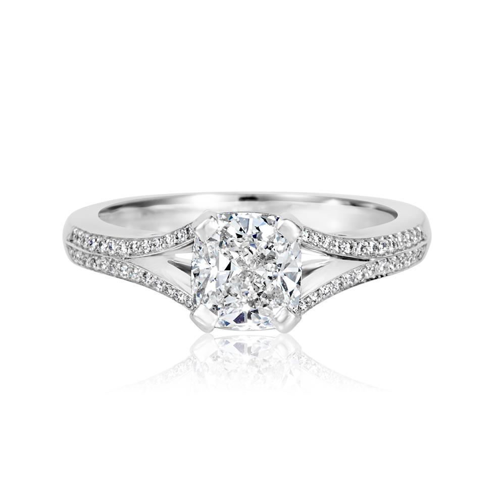 Platinum Split Shoulder Detail Cushion Cut Diamond Solitaire Engagement Ring 1.39ct Thumbnail Image 1