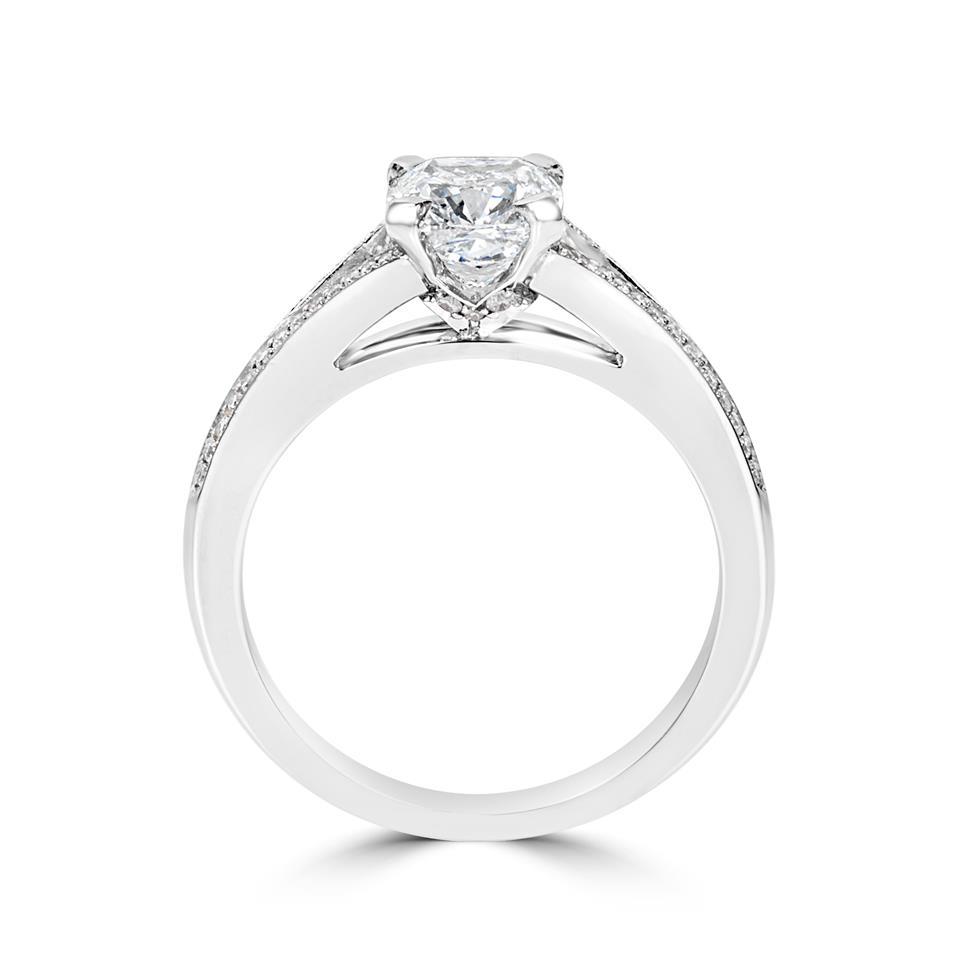 Platinum Split Shoulder Detail Cushion Cut Diamond Solitaire Engagement Ring 1.39ct Thumbnail Image 2