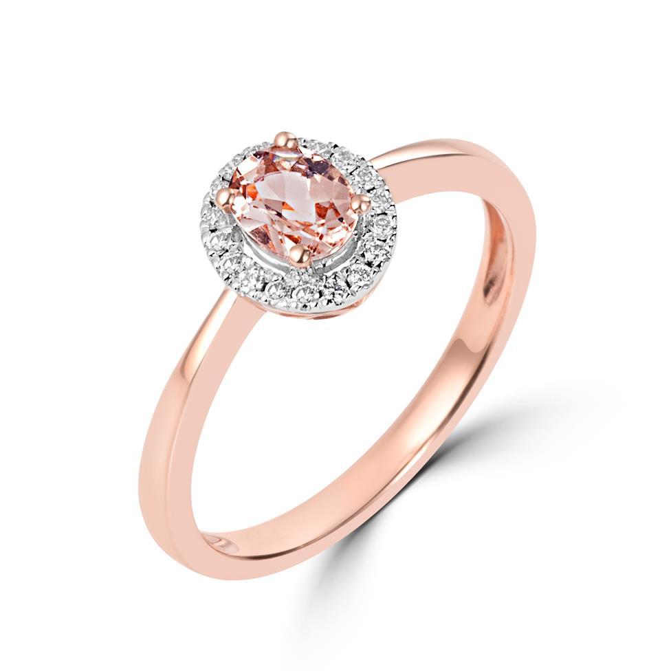 18ct Rose Gold Morganite and Diamond Halo Dress Ring Thumbnail Image 0