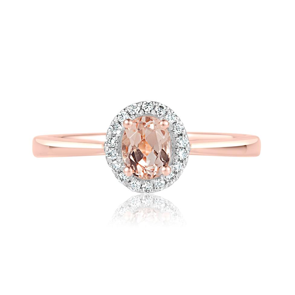18ct Rose Gold Morganite and Diamond Halo Dress Ring Thumbnail Image 1