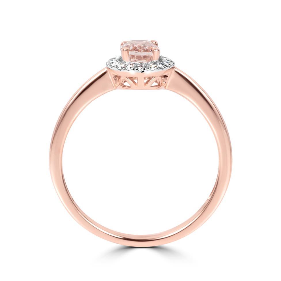 18ct Rose Gold Morganite and Diamond Halo Dress Ring Thumbnail Image 2