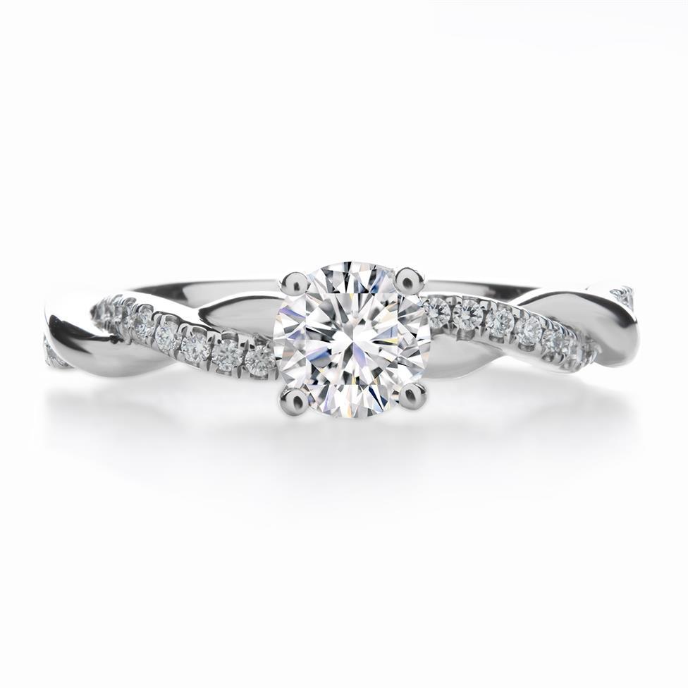 Platinum Plait Design Diamond Solitaire Engagement Ring 0.64ct Thumbnail Image 1