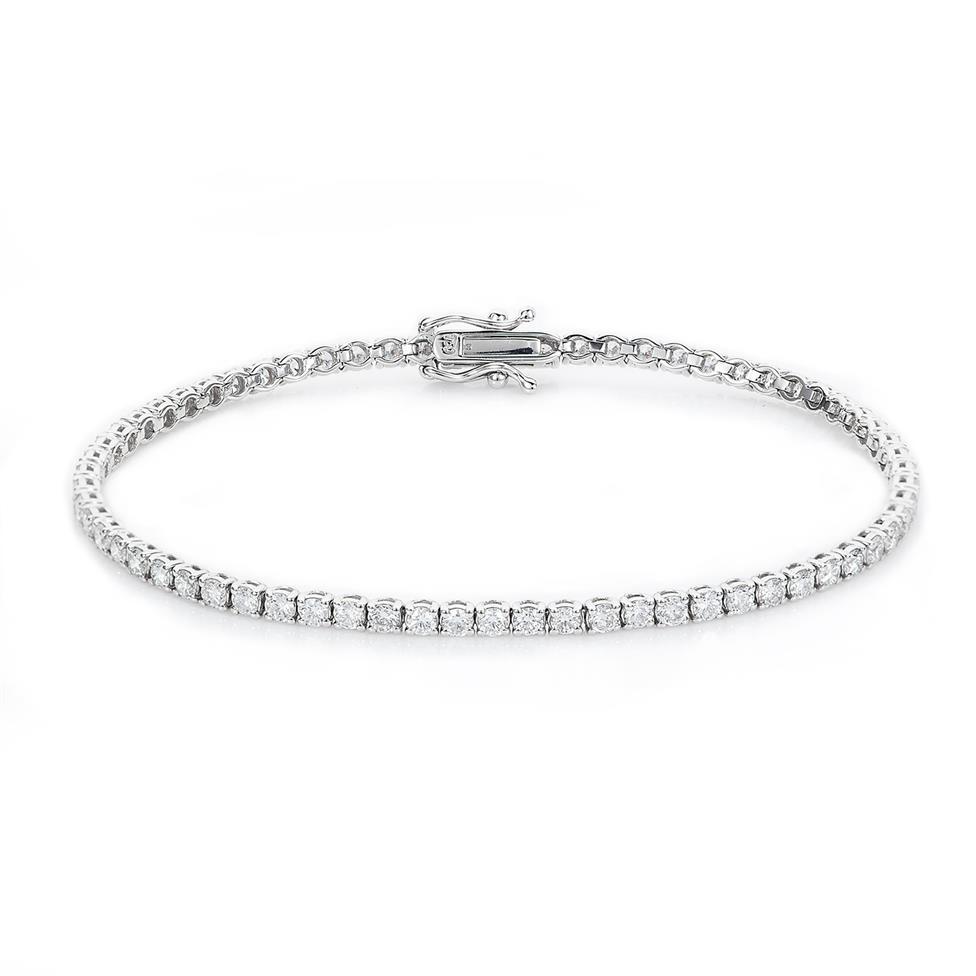 18ct White Gold Diamond Tennis Bracelet 3.00ct Thumbnail Image 0