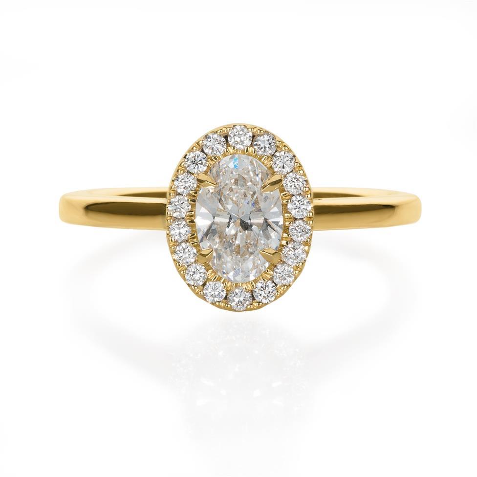 18ct Yellow Gold Oval Diamond Halo Engagement Ring 0.90ct Thumbnail Image 1