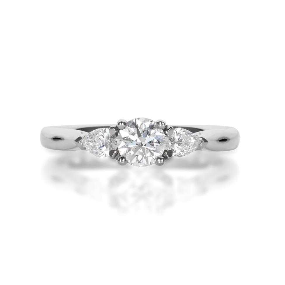 Platinum Round and Pear Shaped Diamond Three Stone Ring Thumbnail Image 0