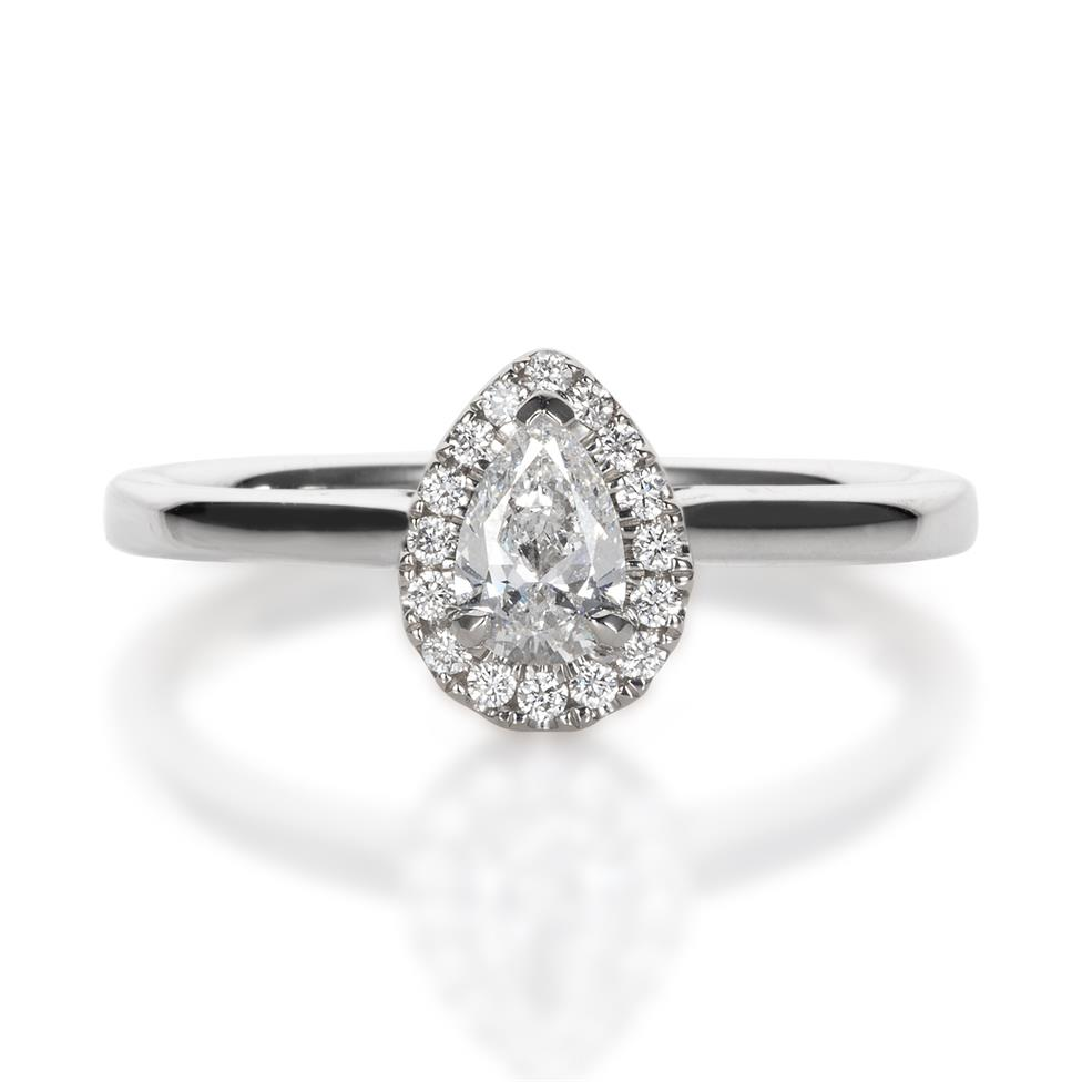 Platinum Pear Shape 0.40ct Diamond Halo Ring  Thumbnail Image 0